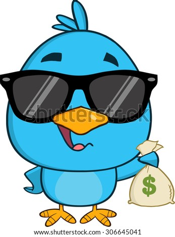 Cute Blue Bird With Sunglasses Cartoon Character Holding A Bag Of Money. Raster Illustration Isolated On White - stock photo