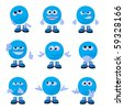 Cute blue emoticon art illustration on a white background - stock photo