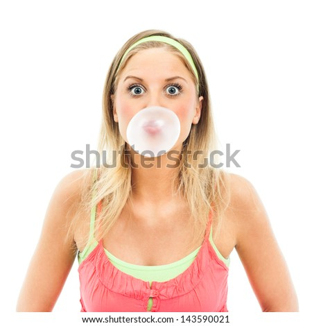 Cute blue-eyed girl blowing big bubble gum,Girl blowing bubble gum - stock photo