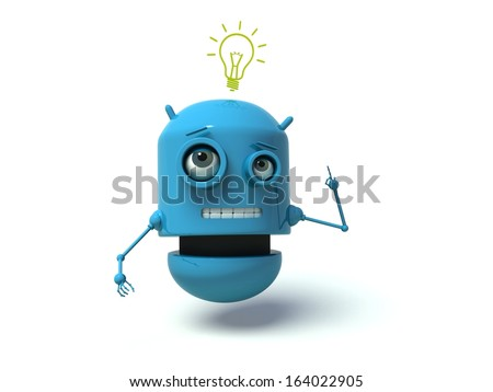 Cute blue robot having an idea. 3d render. Isolated on white background. - stock photo