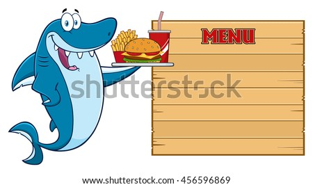 Cute Blue Shark Cartoon Mascot Character Holding A Platter With Burger, French Fries And A Soda To Wooden Blank Board With Text Menu. Raster Illustration Isolated On White Background - stock photo