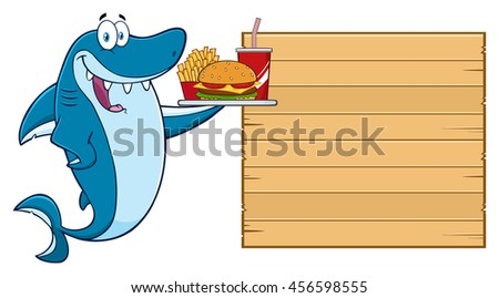 Cute Blue Shark Cartoon Mascot Character Holding A Platter With Burger, French Fries And A Soda To Wooden Blank Board. Raster Illustration Isolated On White Background - stock photo