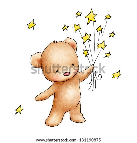 Cute blue teddy bear with stars on white background - stock photo