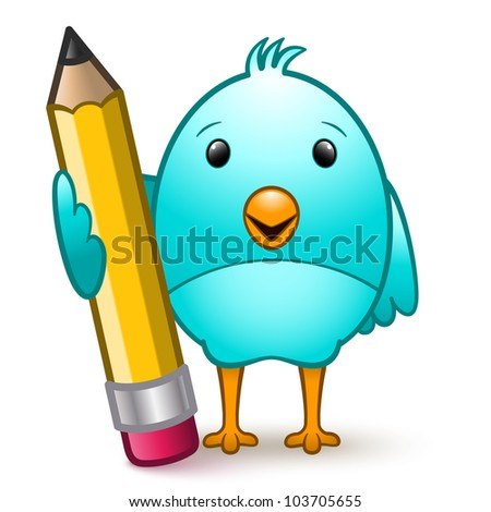Cute bluebird cartoon character standing holding a giant pencil