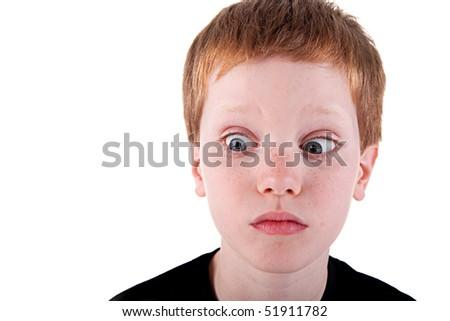 Cute boy admired,  isolated on white background. Studio shot - stock photo