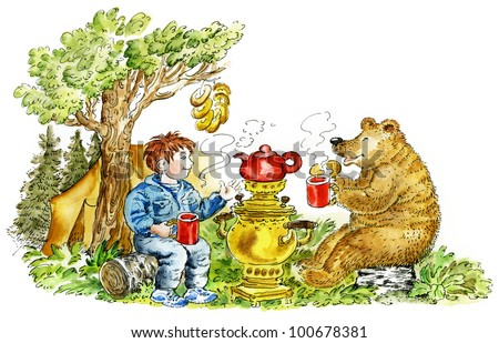 Cute boy and bear drinking tea in forest