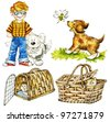 Cute boy and funny pets: dogs and cats . - stock vector