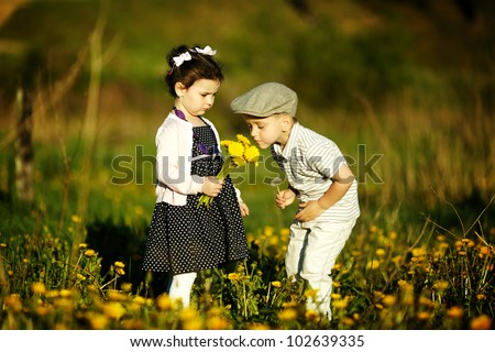 cute boy and girl - stock photo