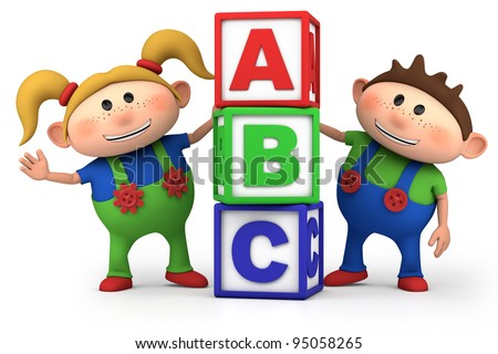 cute boy and girl with ABC blocks - high quality 3d illustration - stock photo