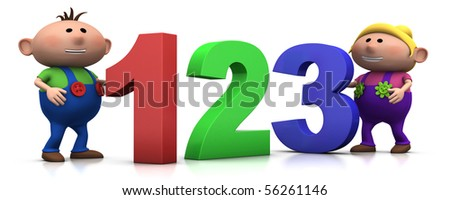 cute boy and girl with big 3d numbers - 3d rendering/illustration - stock photo