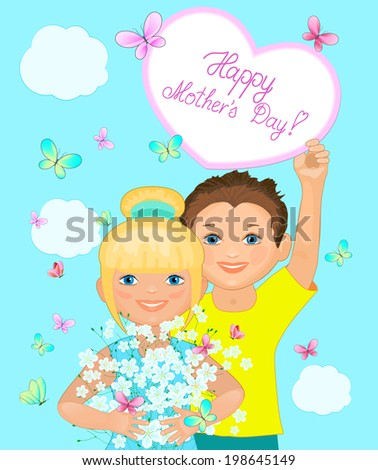 Cute boy and girl with flowers. Beautiful Mother's Day card
