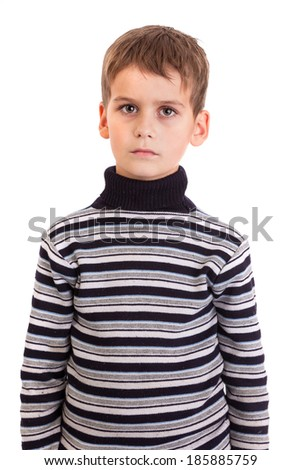 Cute boy anger isolated on a white background - stock photo