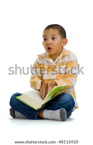 cute boy arguing over a book, isolated on white - stock photo