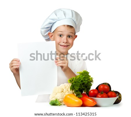 cute boy Chef is holding with a sheet of paper. isolated