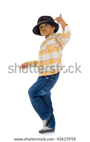 cute boy dancing, isolated on white background - stock photo