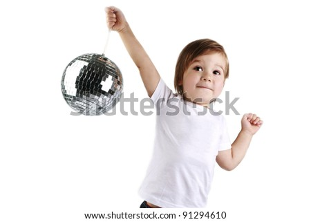 cute boy dancing with a mirror ball in the white T-shirt on a white background - stock photo