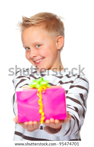 cute boy giving a present for mothers day - stock photo