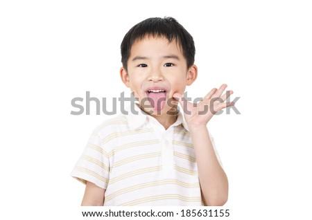 Cute boy grimace - stock photo