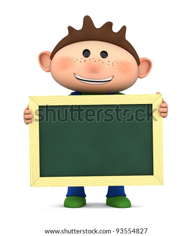 cute boy holding a blank chalkboard - high quality 3d illustration - stock photo