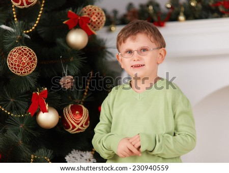 Cute boy in glasses posing on a background the Christmas decorations - stock photo