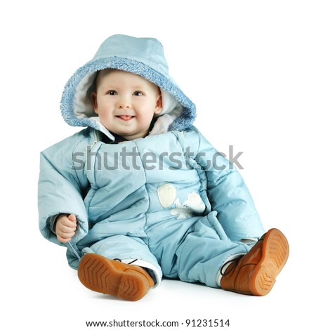 cute boy in overalls - stock photo