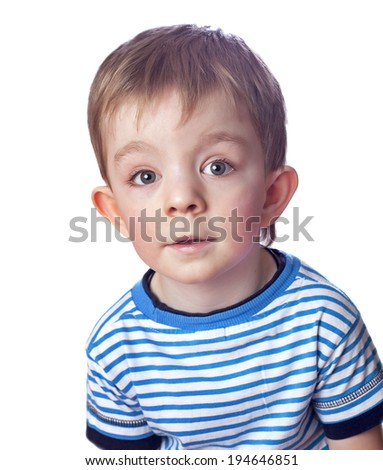 cute boy isolated on white - stock photo