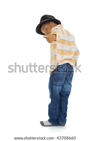 cute boy making sign to follow him, isolated on white background - stock photo