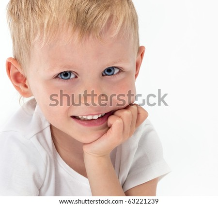 cute boy on white background - stock photo