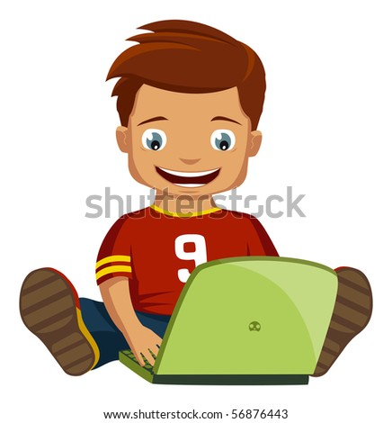 Cute boy operating a notebook. - stock photo