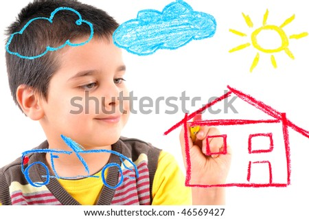 Cute boy painting a house, car, sun and clouds on glass. White background high resolution studio image. - stock photo