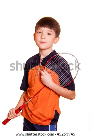 Cute boy playing badminton isolated on white - stock photo