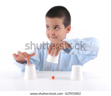 Cute boy playing traditional shell game with cups - a series of SHELL GAME images.
