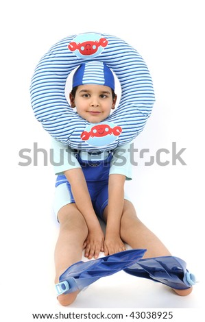 Cute boy ready to swim and dive isolated on white background. - stock photo