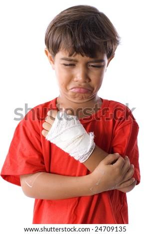 Cute Boy Sad with his hand hurt . - stock photo