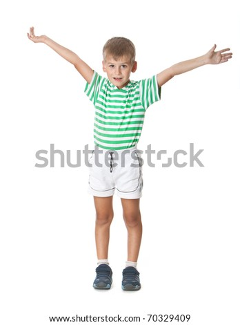 Cute boy shout isolated on a white background - stock photo