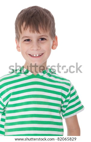 Cute boy smile isolated on a white background - stock photo