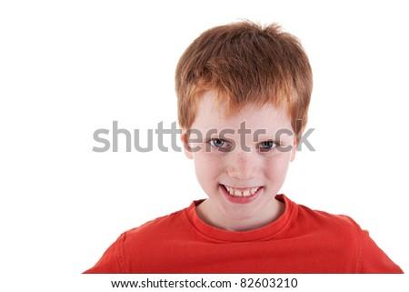 Cute Boy, smiling, isolated on white background. Studio shot. - stock photo
