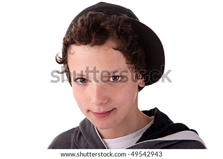 Cute boy, with a cap, smiling - stock photo