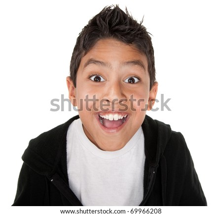 Cute boy with a giant smile on a white background - stock photo