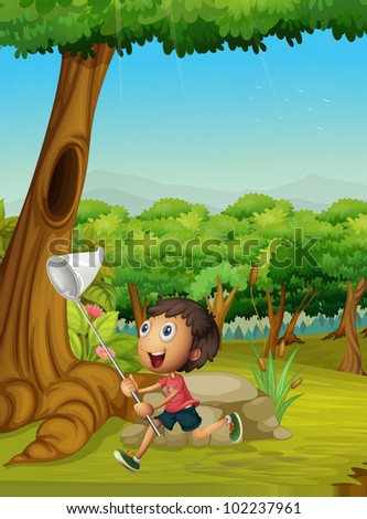 Cute boy with a net catching insects - EPS VECTOR format also available in my portfolio. - stock photo