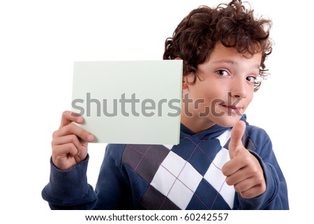 cute boy with a paperboard in hand, isolated on white background. Studio shot. - stock photo
