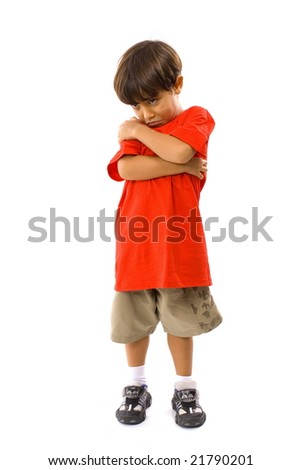 Cute Boy with a sad expression . - stock photo