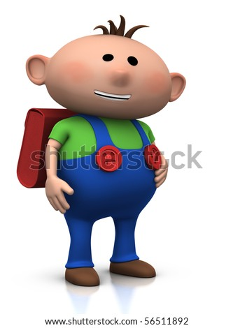 cute boy with a satchel on his back and a big smile on his face - 3d rendering/illustration - stock photo