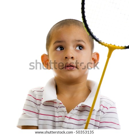 cute boy with badminton racket, isolated on white background - stock photo