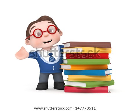 cute boy with colorful books - 3d rendered isolated - stock photo