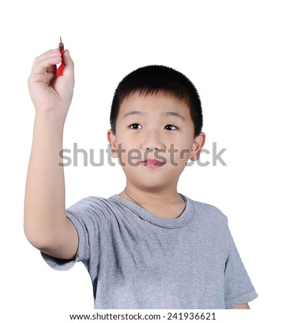 Cute boy with dart isolated on white background - stock photo
