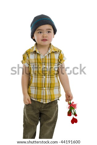 cute boy with flower and heart gift, isolated on white - stock photo