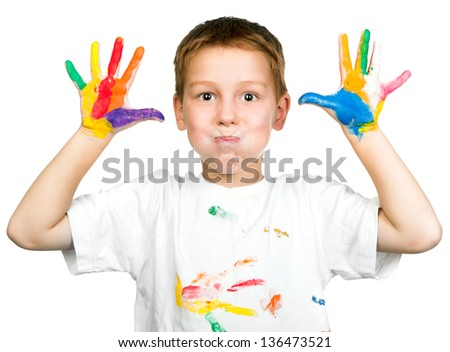 cute boy with hands in paint isolated on white background - stock photo