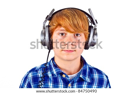 cute boy with headphone listening to music