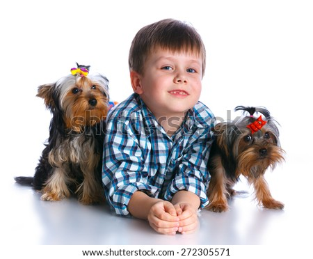 Cute boy with his two Yorkshire terriers smiling at camera on isolated white background